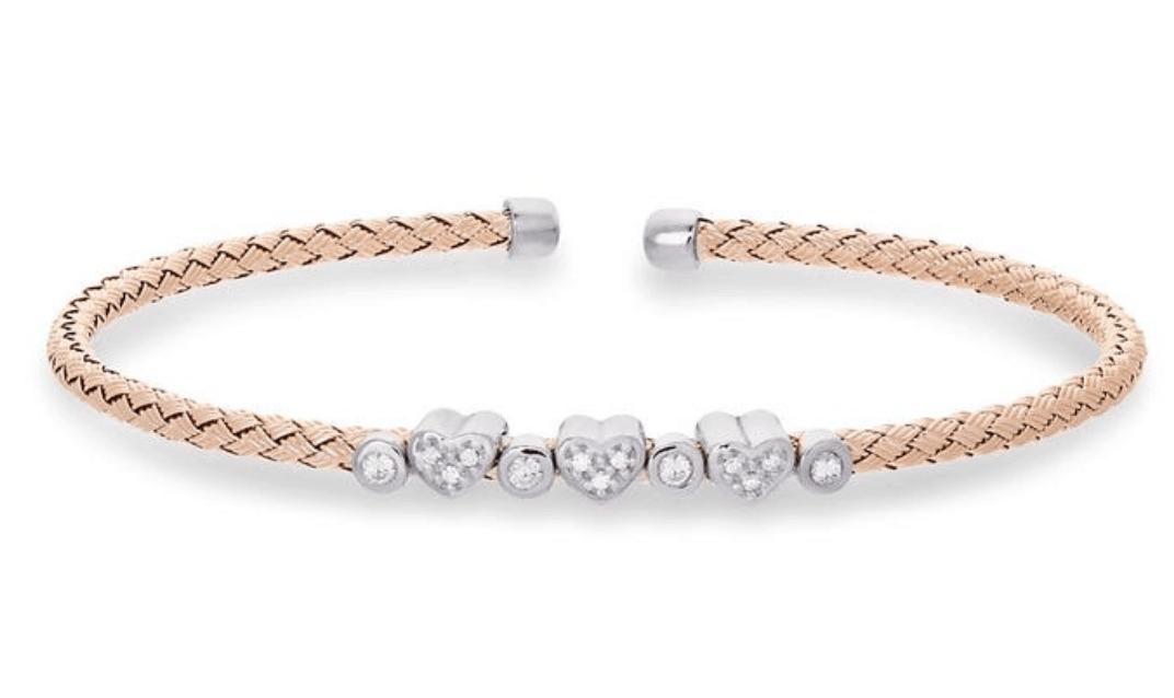 simulated diamond heart cuff bracelet