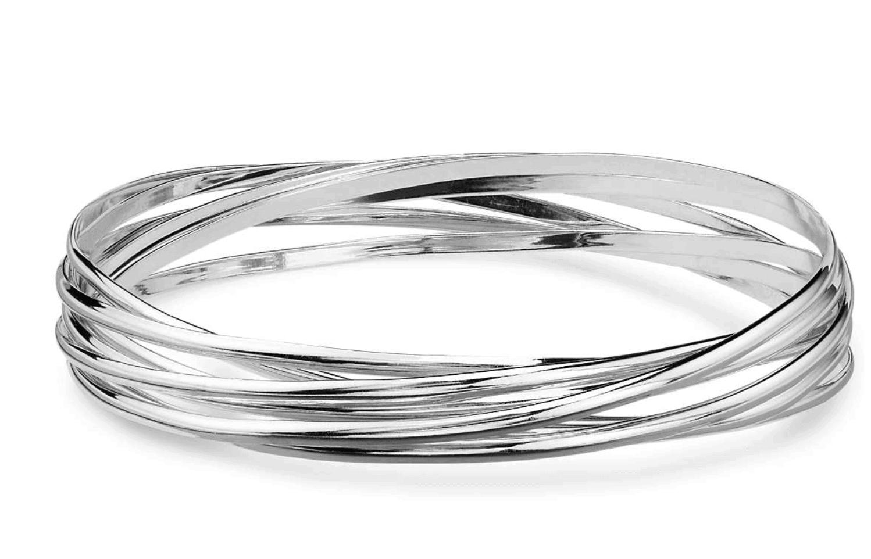 Blue Nice interlocking bangle bracelets in sterling silver