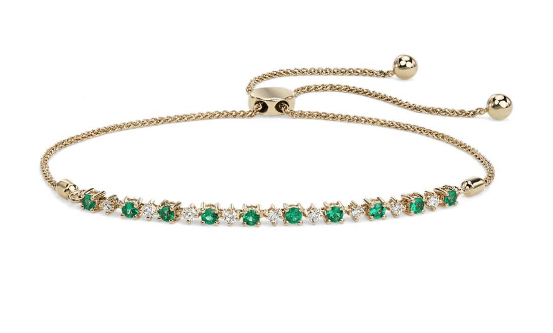 Blue Nile emerald and diamond bolo bracelet