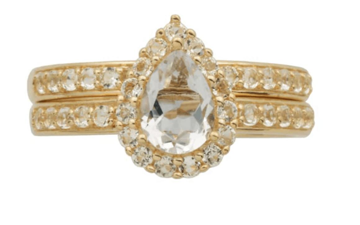 Pear-Shaped White Topaz Frame Bridal Set in 10K Gold