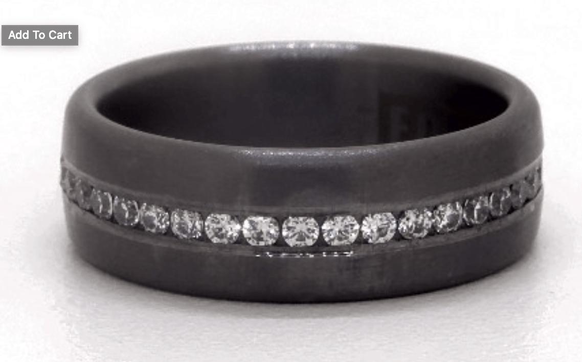 James Allen Tantalum 7.5mm Channel Set Diamond Satin Finished Comfort Fit Ring
