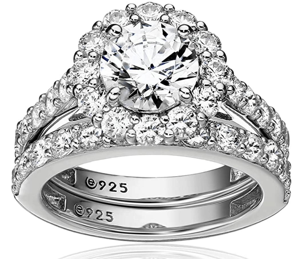 Platinum-Plated Sterling Silver Swarovski Zirconia Flower Halo Ring