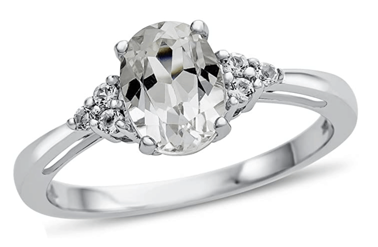 Finejewelers Solid 10k White or Yellow Gold 8x6mm Oval Center Stone and White Topaz Ring