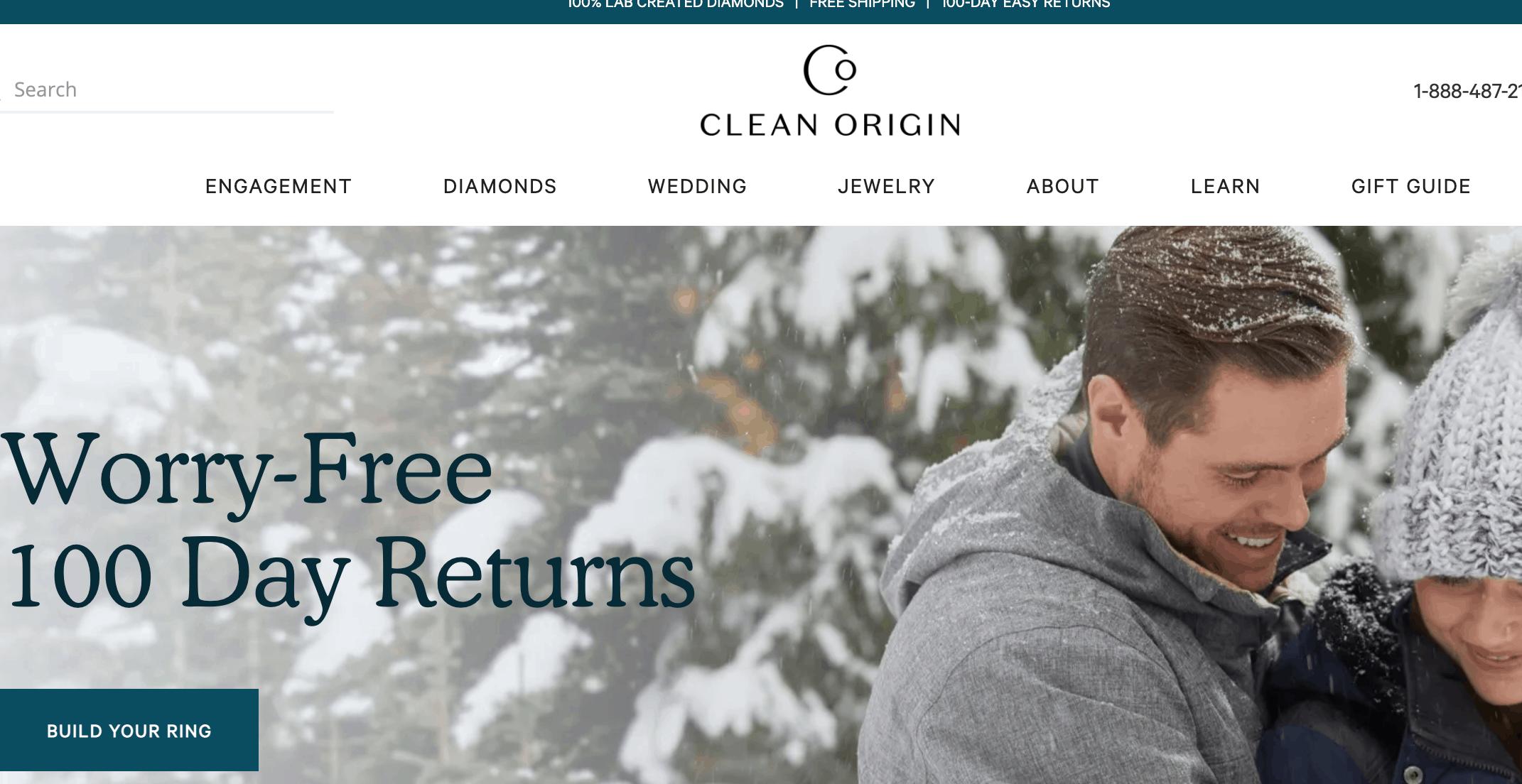 Clean Origin homepage