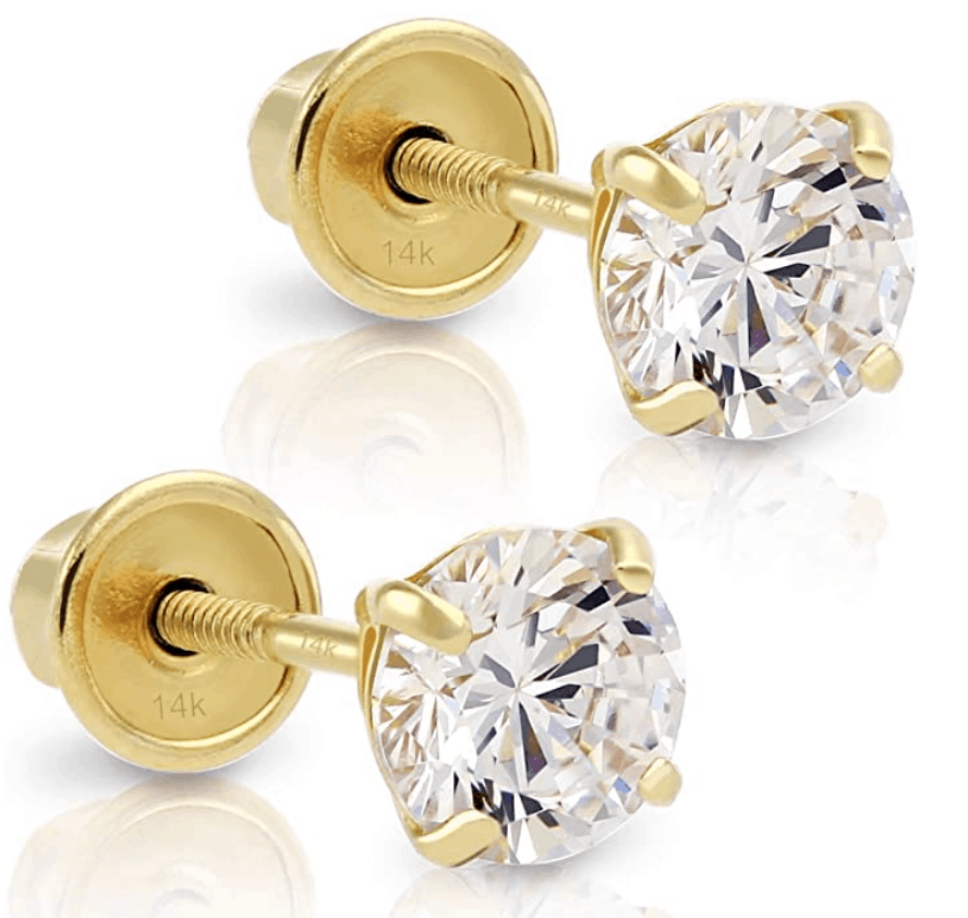 14k Yellow Gold Solitaire Earrings