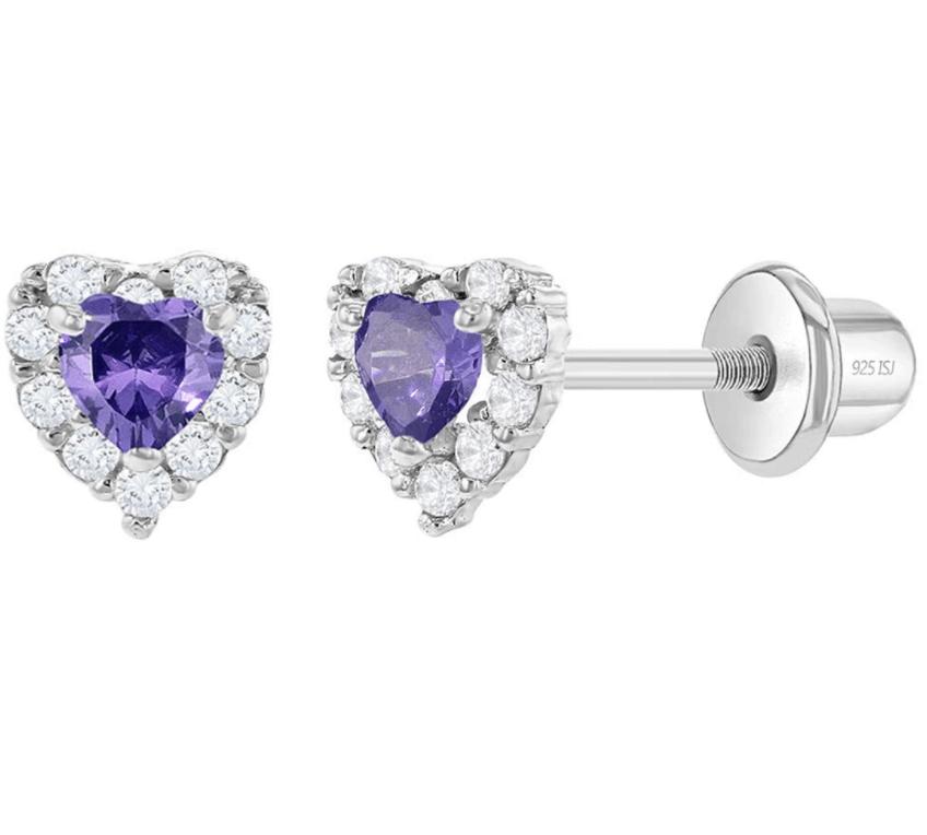 925 Sterling Silver Cubic Zirconia Diva Heart-Shape Earrings