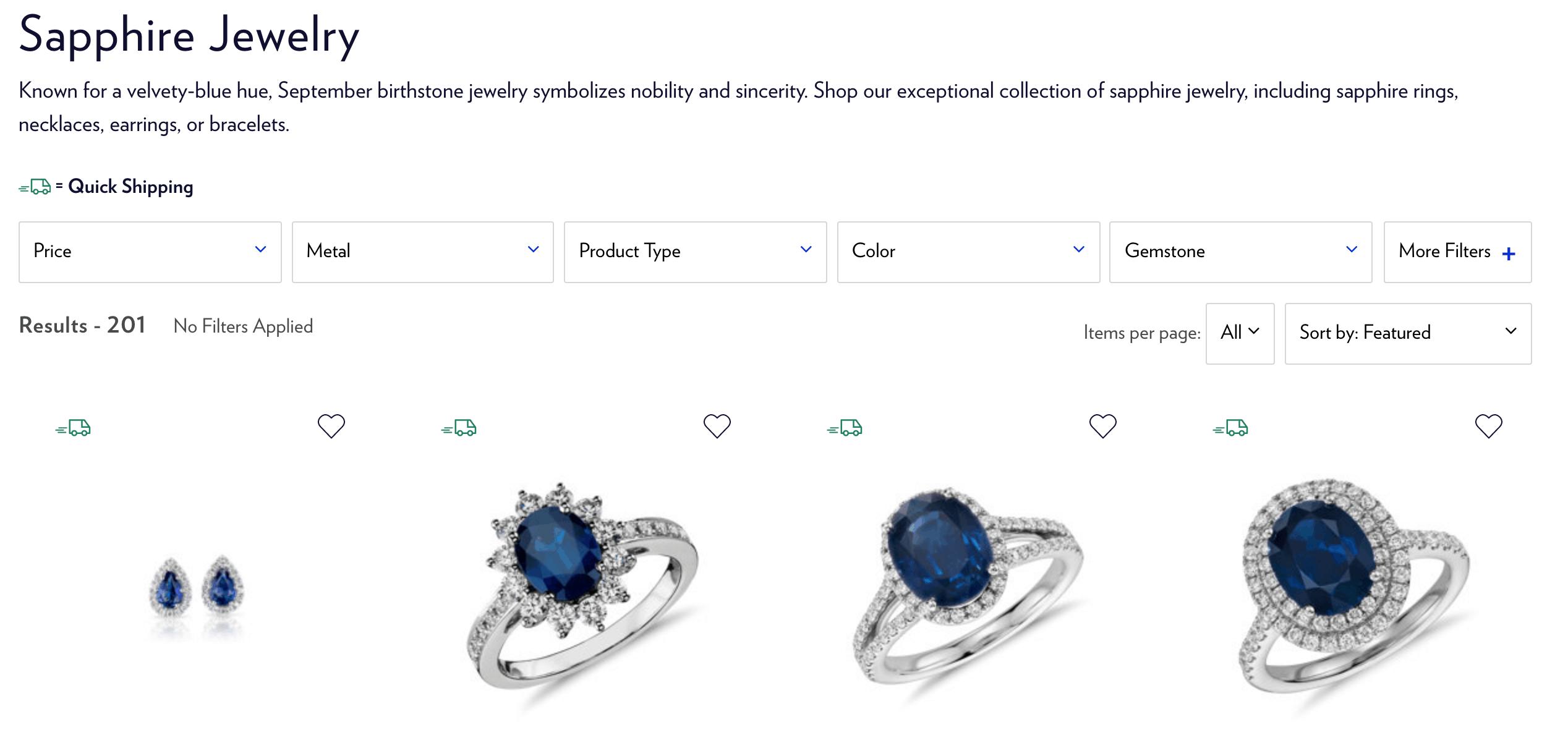 blue nile sapphire jewelry