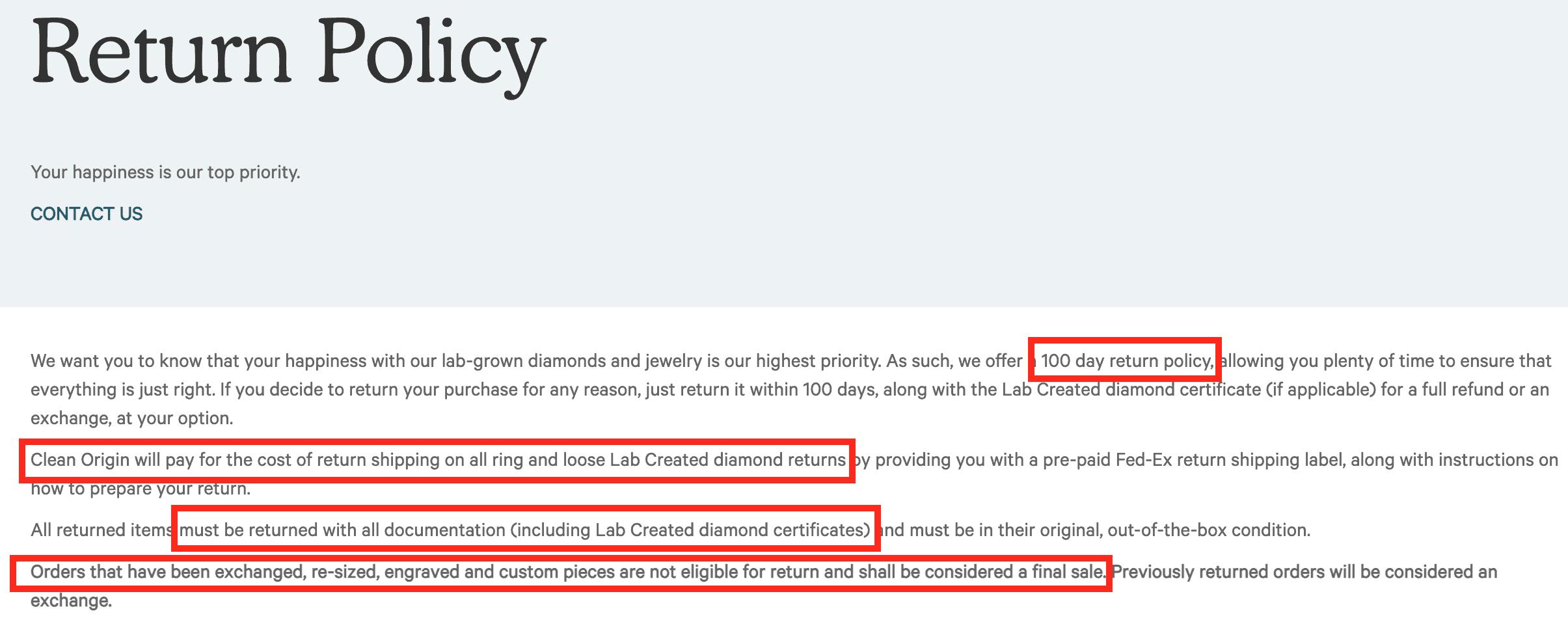 Clean Origin return policy