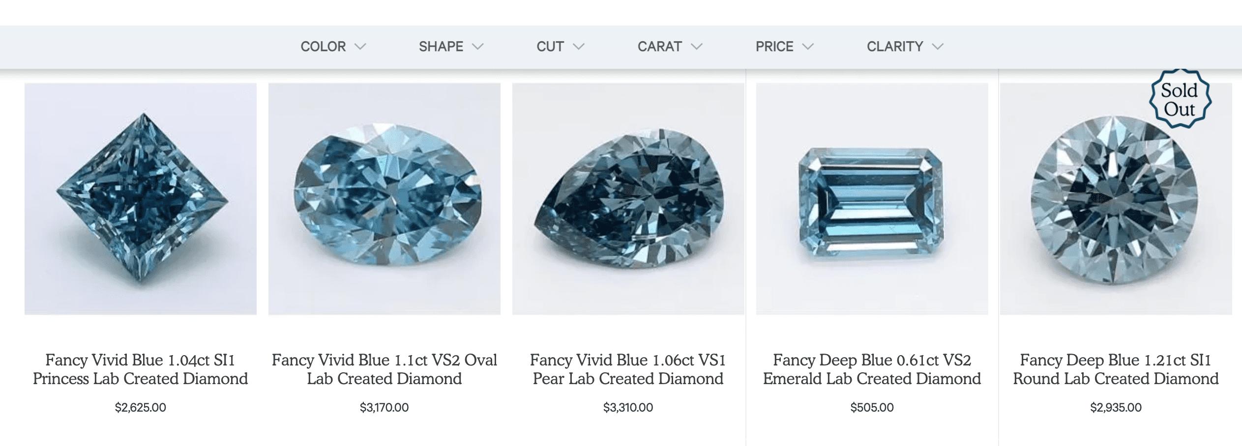 Clean Origin blue diamonds