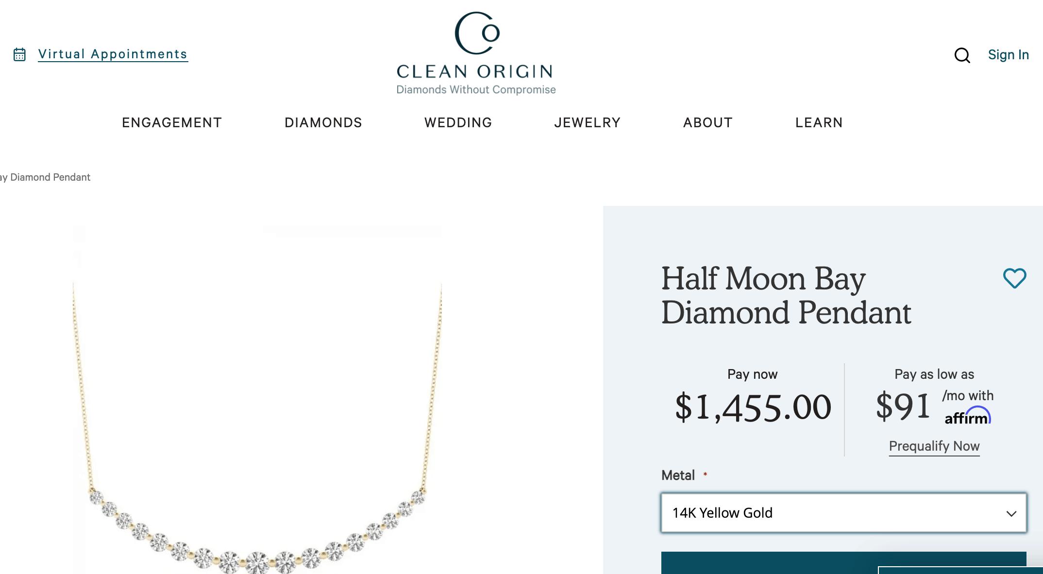 Half Moon Bay Diamond Pendant