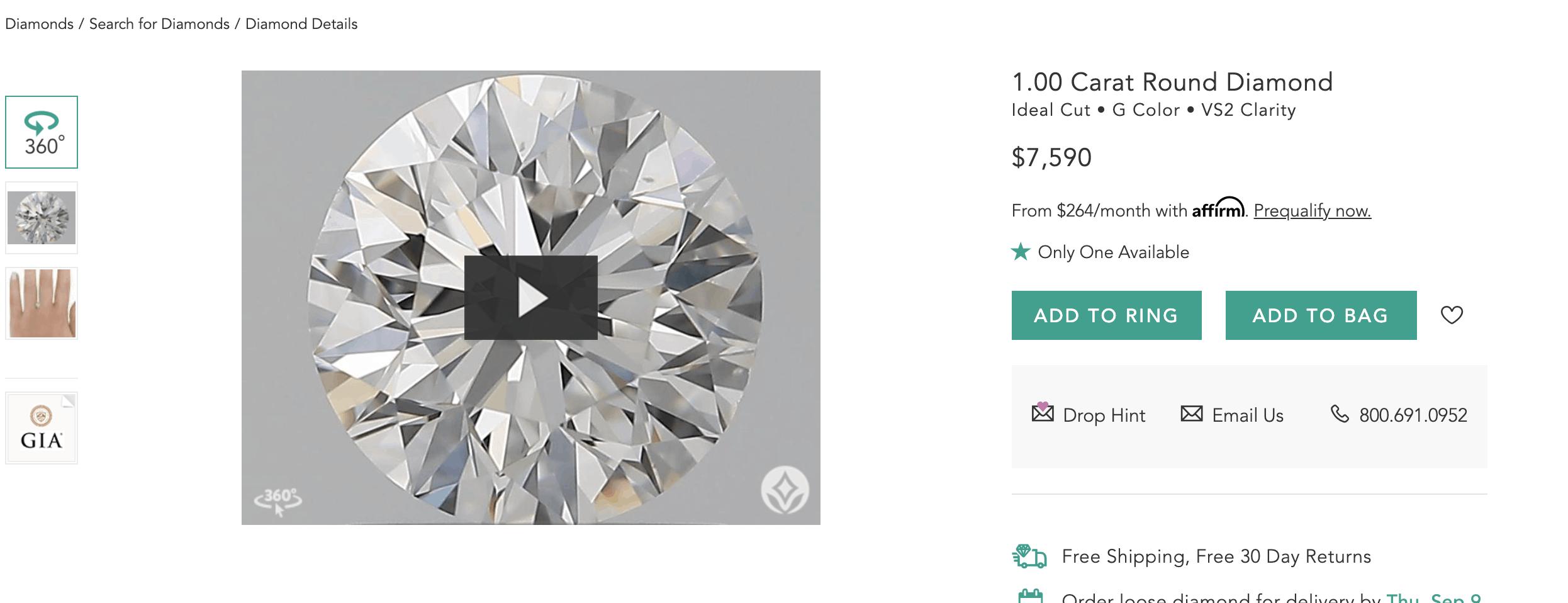 brilliant earth 1 carat round diamond