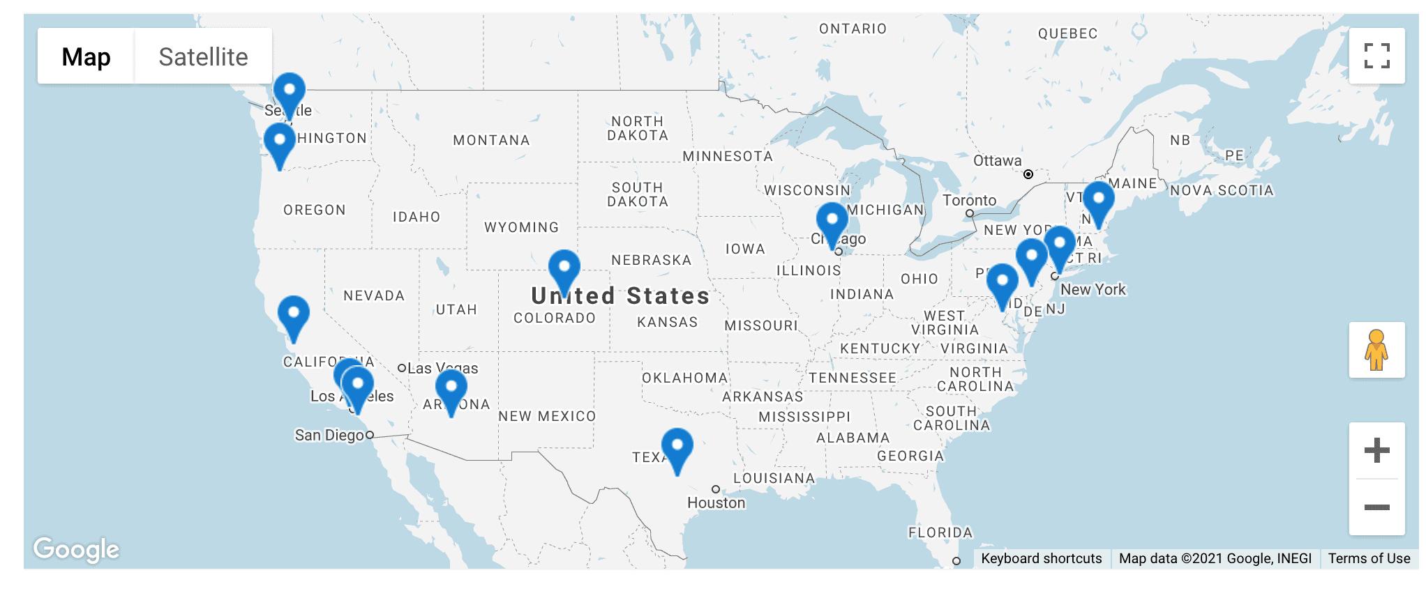 Blue Nile across the US