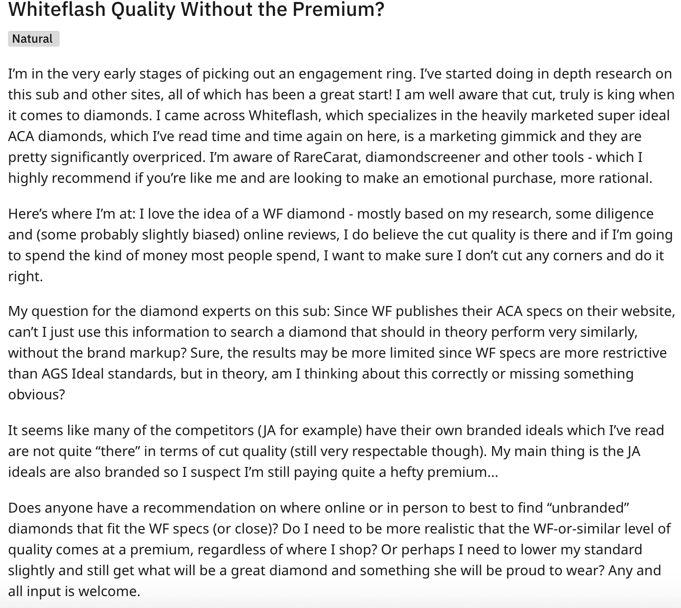 Whiteflash pricing complaint