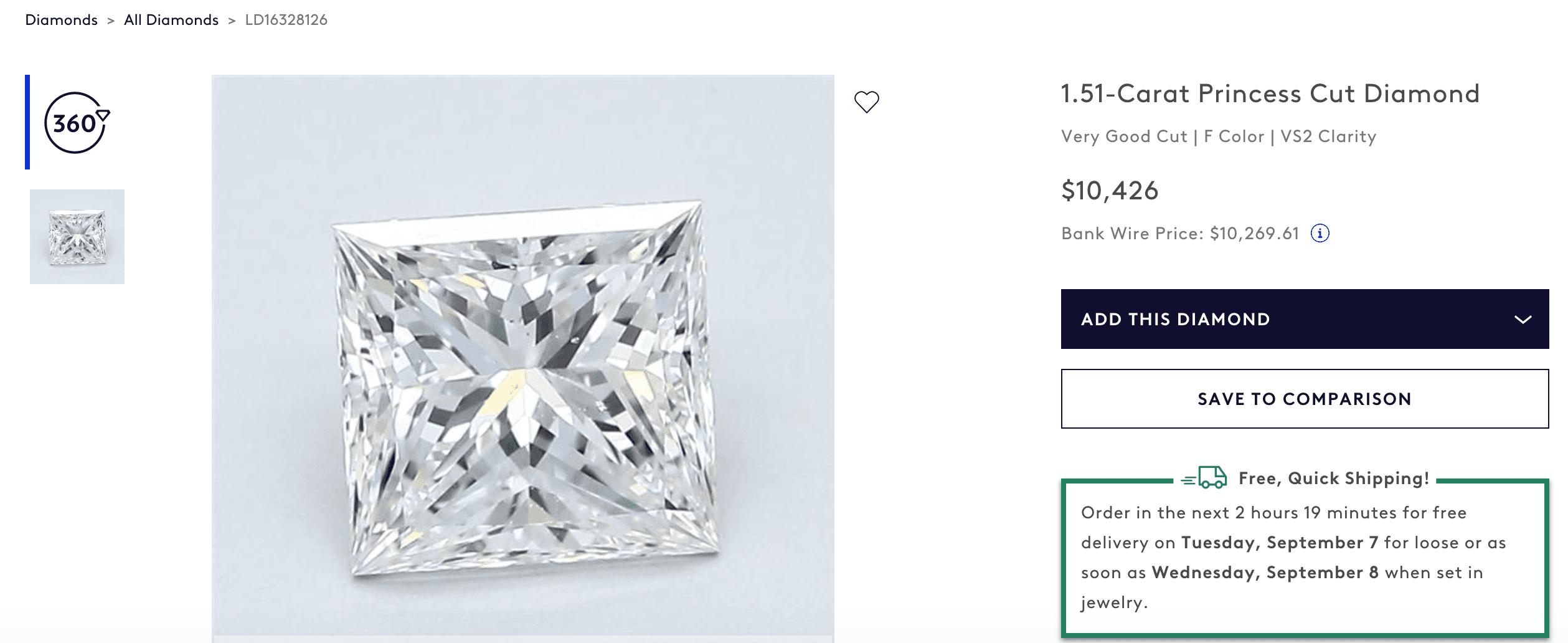 1.51 carat Princess Cut Diamond