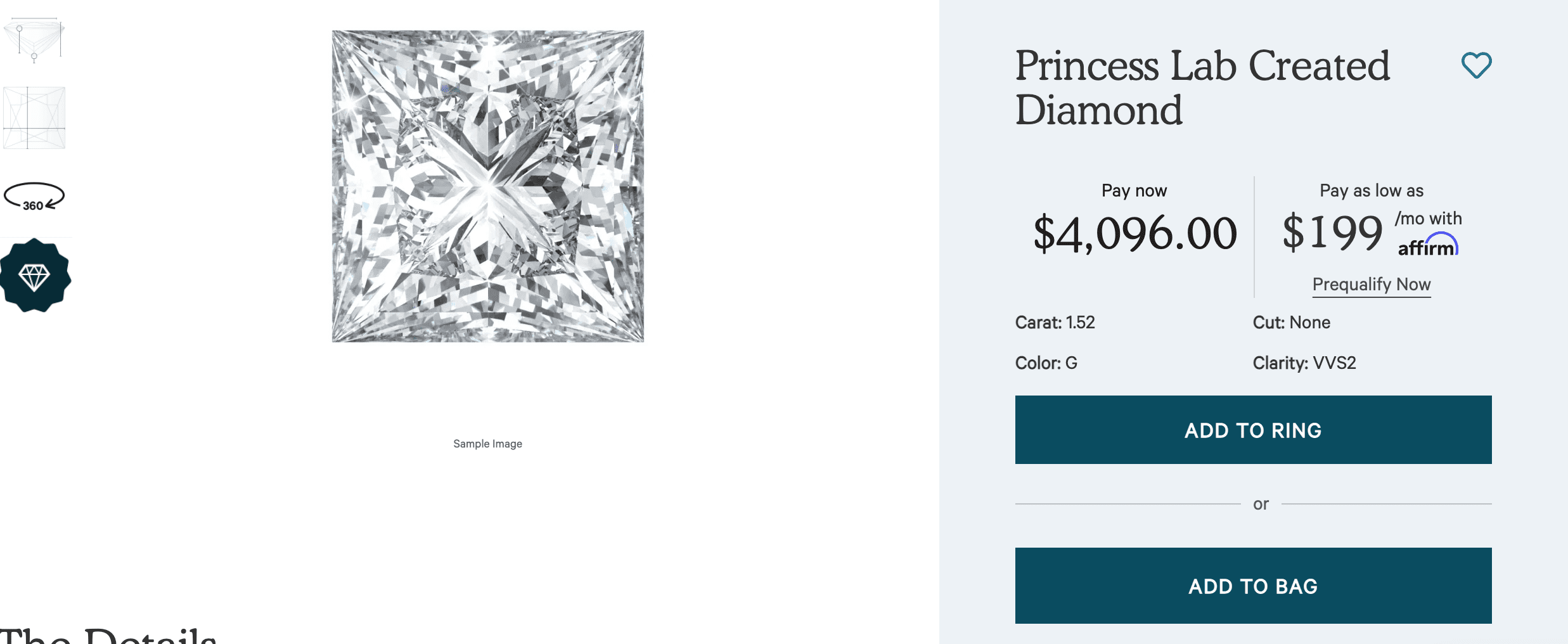Princess cut lab created diamond