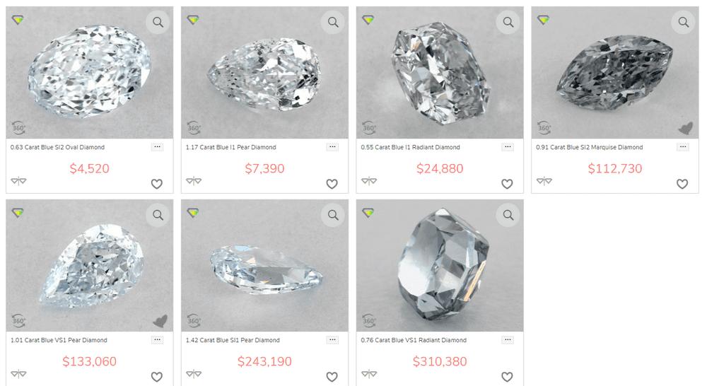 blue diamonds at James Allen