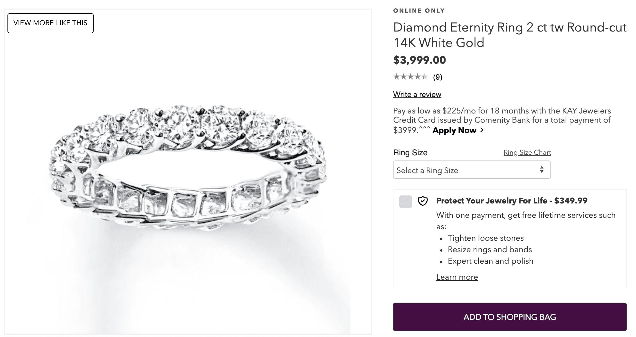 diamond eternity ring 2 ct Round-cut 14k White Gold