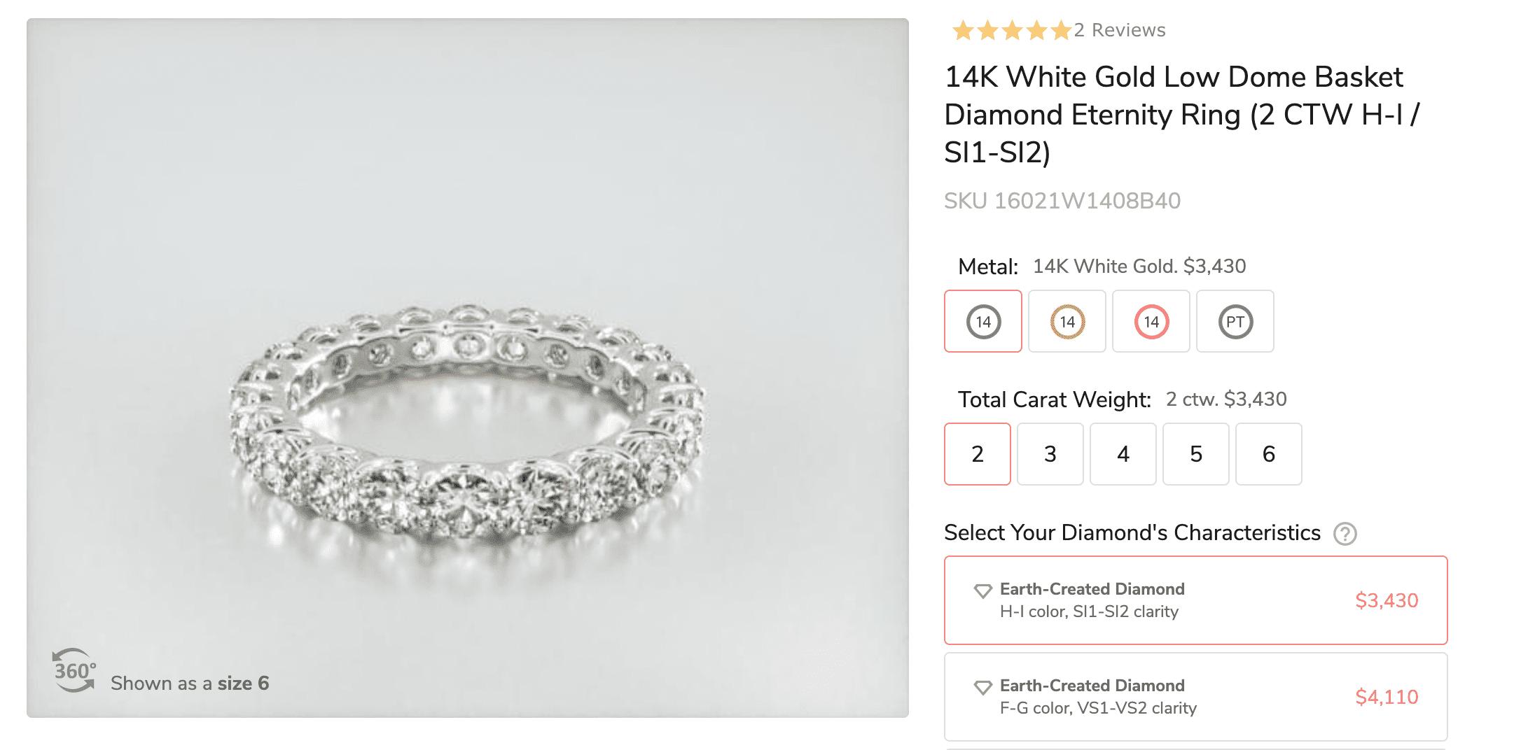 14K White Gold Low Dome Basket Diamond eternity Ring