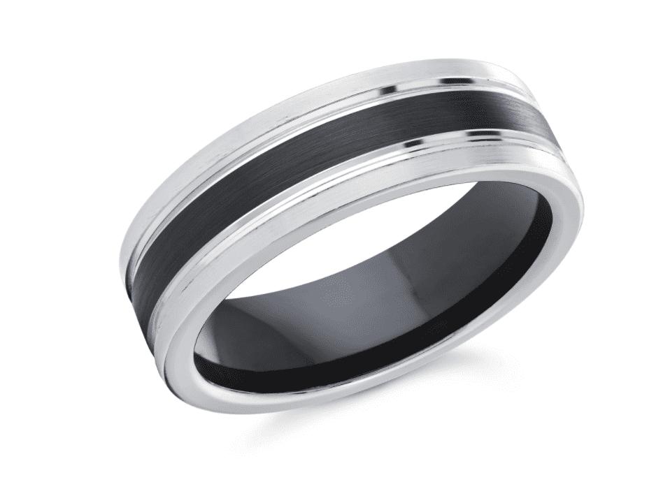 Black & White Striped Cobalt Wedding Ring by Ritani