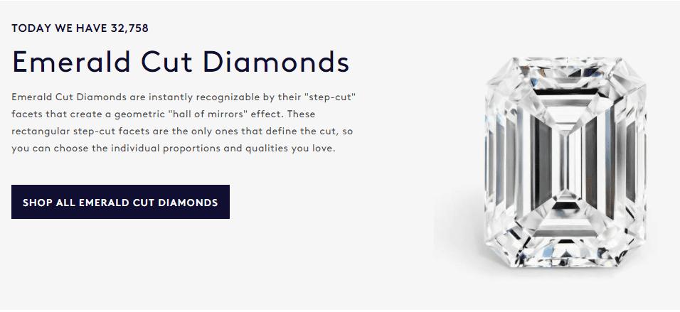 Blue Nile emerald cut diamonds