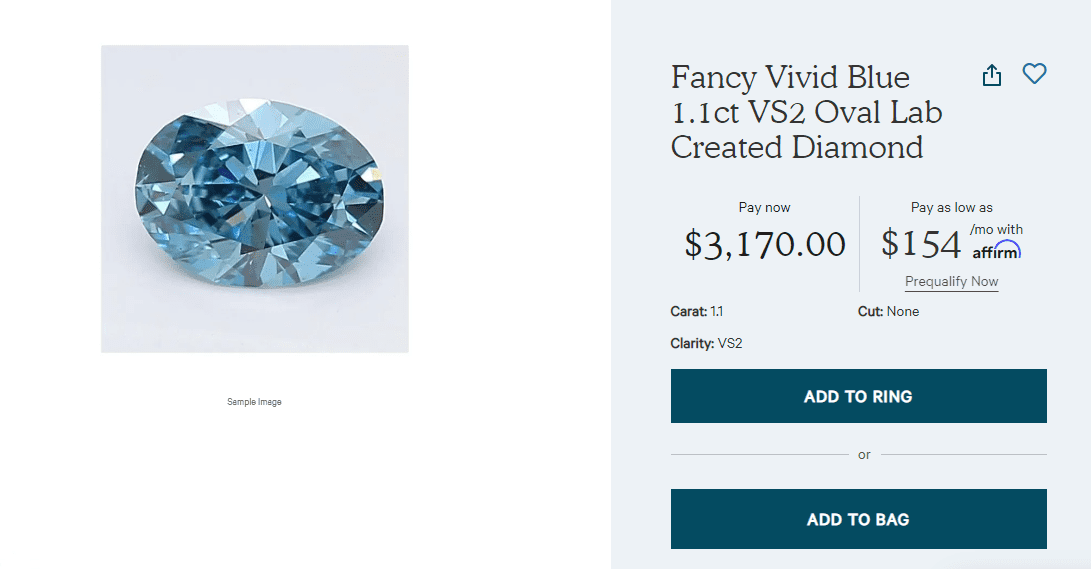 Fancy vivid blue diamond at Clean Origin