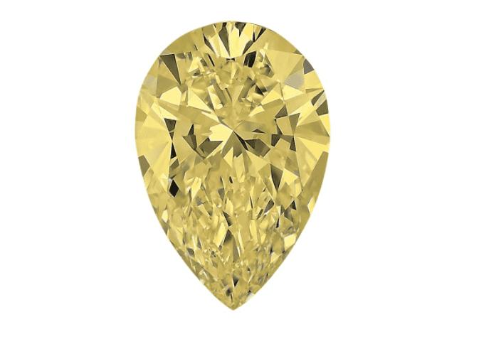 Light Yellow Pear Shaped Diamond