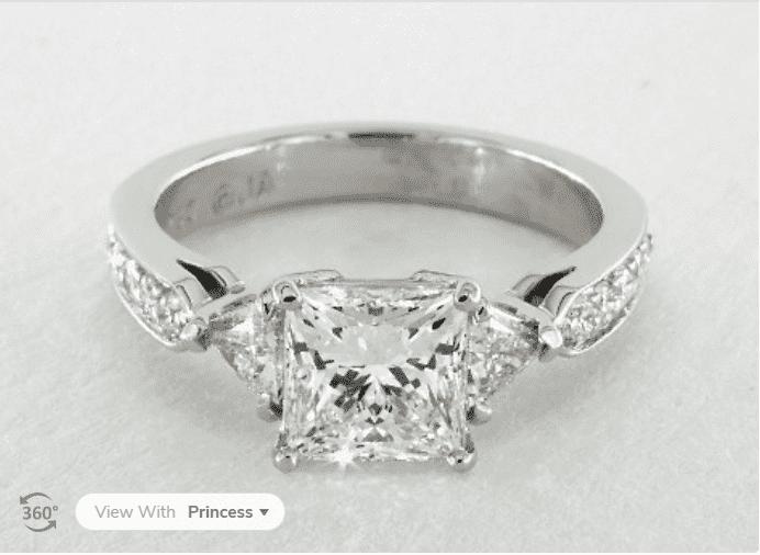 Princess cut trillion daimond ring from James Allen