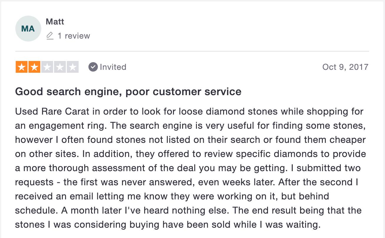 rare carat 2-star trustpilot review about customer service