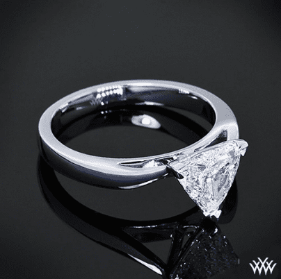 Whiteflash custom trillion 3 prong solitaire engagement ring