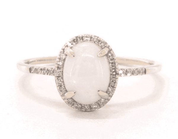 2. Yellow Gold Opal & Diamond Halo Ring